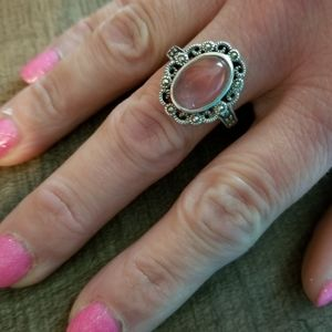Pretty pink stone/ sterling silver ring